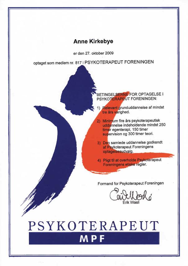 Anne Kirkebye medlem af psykoterapeut foreningen