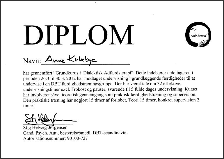 Certifikat i Dialektisk Adfærdsterapi